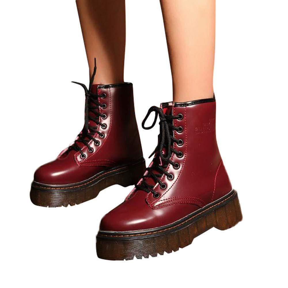 ZHRUI Frauen Casual Casual Frauen Stiefel, Frauen Retro Schuhe Baumwolle Stiefel Lace-Up Rutschfeste Dicke Ferse Ritter Warme Stiefel für Urlaub Ferien (Farbe   Weiß, Größe   3 UK) 914526
