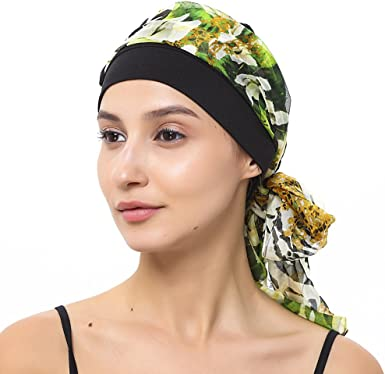 Turban /& Chiffon Head-wrap Black-multi alopecia Chemo Headwear.for hair loss