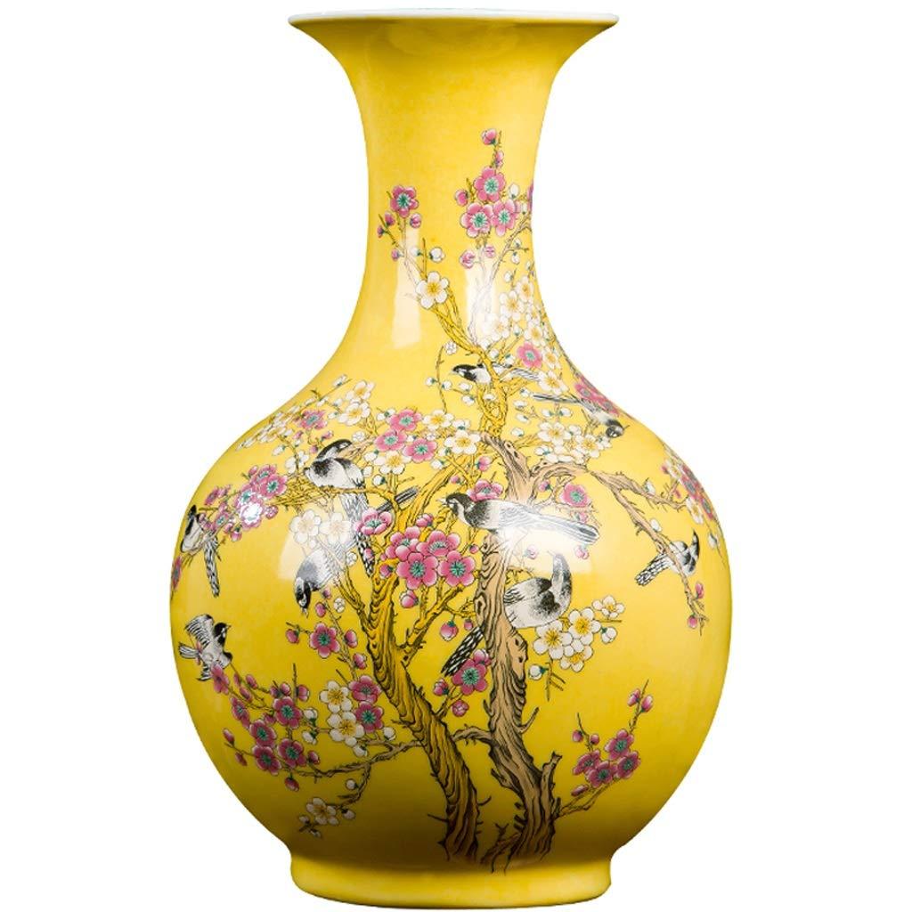 花瓶セラミックス黄色ビーミングパステル花瓶ボトル現代現代家のリビングルーム新しい家の装飾 LQX (Size : M) B07SKDR55B  Medium