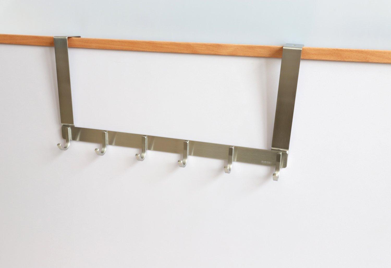 TOGU Over The Door Hook Sus 304 Stainless Steel Heavy Duty Door Hooks (6 Hooks) Organizer for Coats/Towels/Clothes/Wreath,Suitable for 1-1.8'' Thickness Door and 0.05'' Door Frame Gap,Brushed Finish