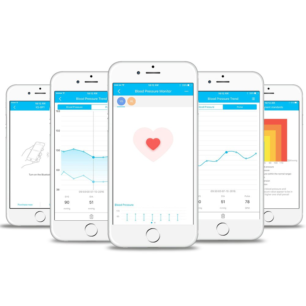 Koogeek Tensiómetro de Muñeca Digital Monitor de Presión Arterial Bluetooth Medir la Frecuencia Cardíaca Función de Memoria con Gran LCD Pantalla para IOS y ...