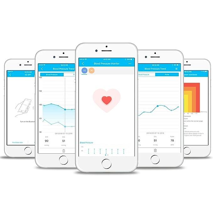 Koogeek Tensiómetro de Muñeca Digital Monitor de Presión Arterial Bluetooth Medir la Frecuencia Cardíaca Función de Memoria con Gran LCD Pantalla para ...