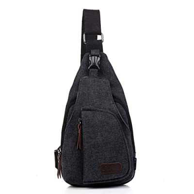 well-wreapped Cgecko F-1212 Mens Leisure Cotton Canvas Cross Body Chest Pack bag
