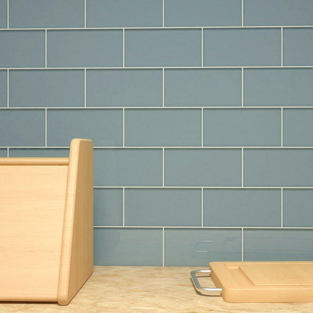 Giorbello Glass Subway Backsplash Tile, 3 x 6, Slate, Sample Tile (1 ...