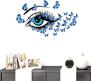 BIBITIME DIY Blue Butterflies Vinyl Decal Long Eyelashes Eye Wall Sticker for Women Girls Bedroom Nursery Children Kids Room Decor Living Room Home PVC Art Mural