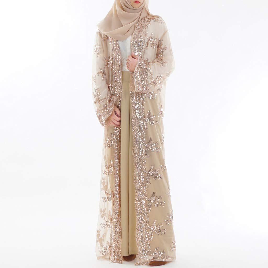 TIFENNY Muslim Women Lace Sequin Cardigan Maxi Dress Kimono Open Abaya Robe Kaftan Dubai Fashion Long Cardigan Cover Up