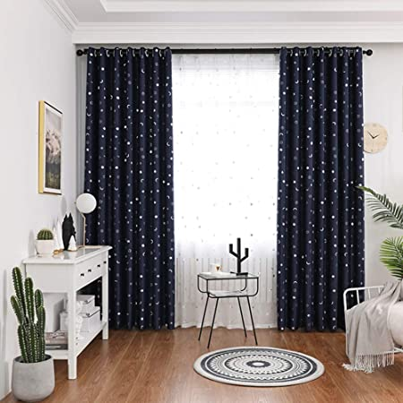 Galaxy Blackout Curtains Star Moon Room Darkening Curtains Eyelet Children S Opaque Curtain 2 Panels For Kids Bedroom Living Room Home Decoration Navy W170xl140cm Amazon Co Uk Kitchen Home