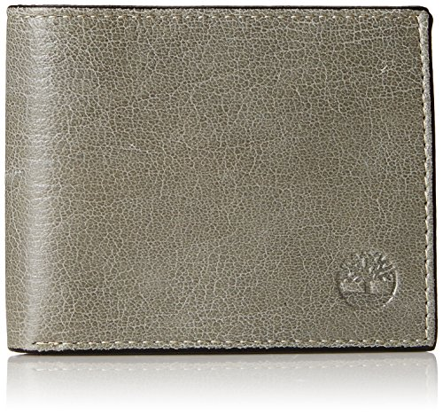 Timberland Men's Leather Wallet with Attached Flip Pocket, Grey (Fine Break), One Size