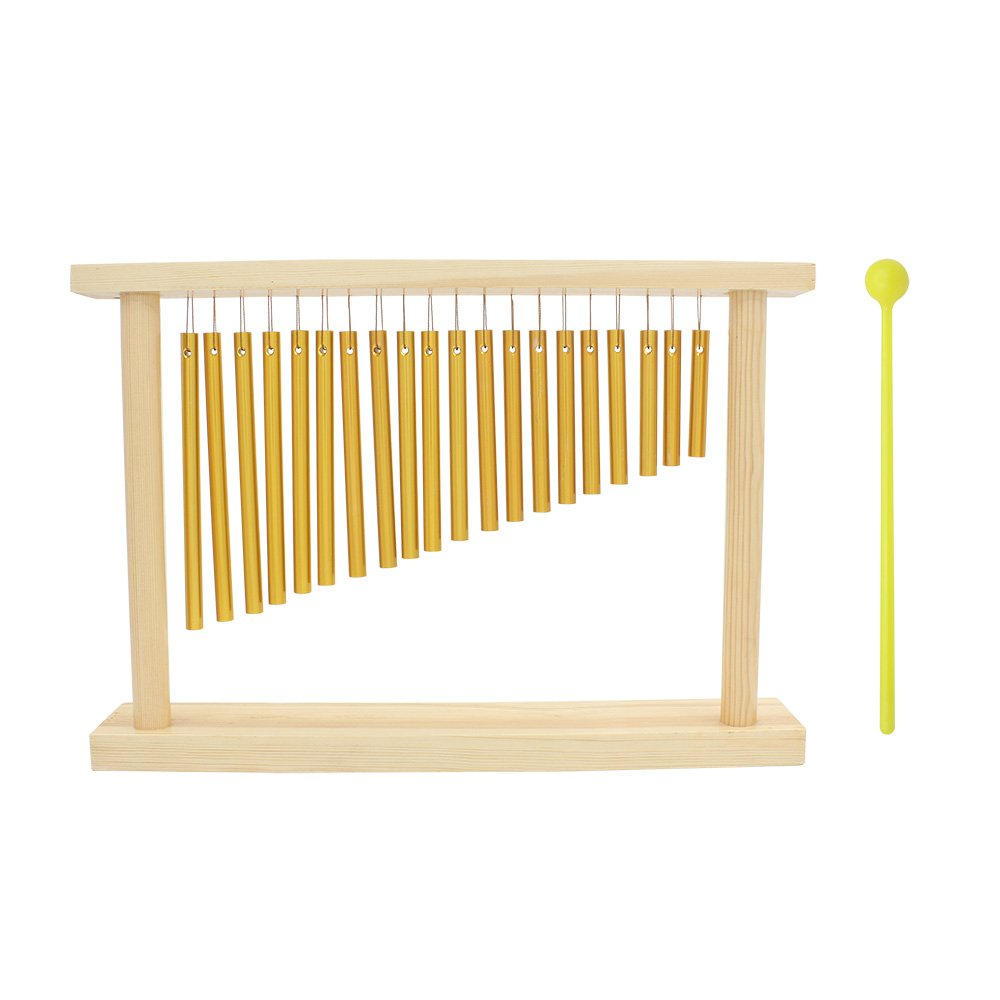 Muslady 20-Tone Bar Chimes Table Top 20 Bars Single-row Musical Percussion Instrument With Wood Stand Stick