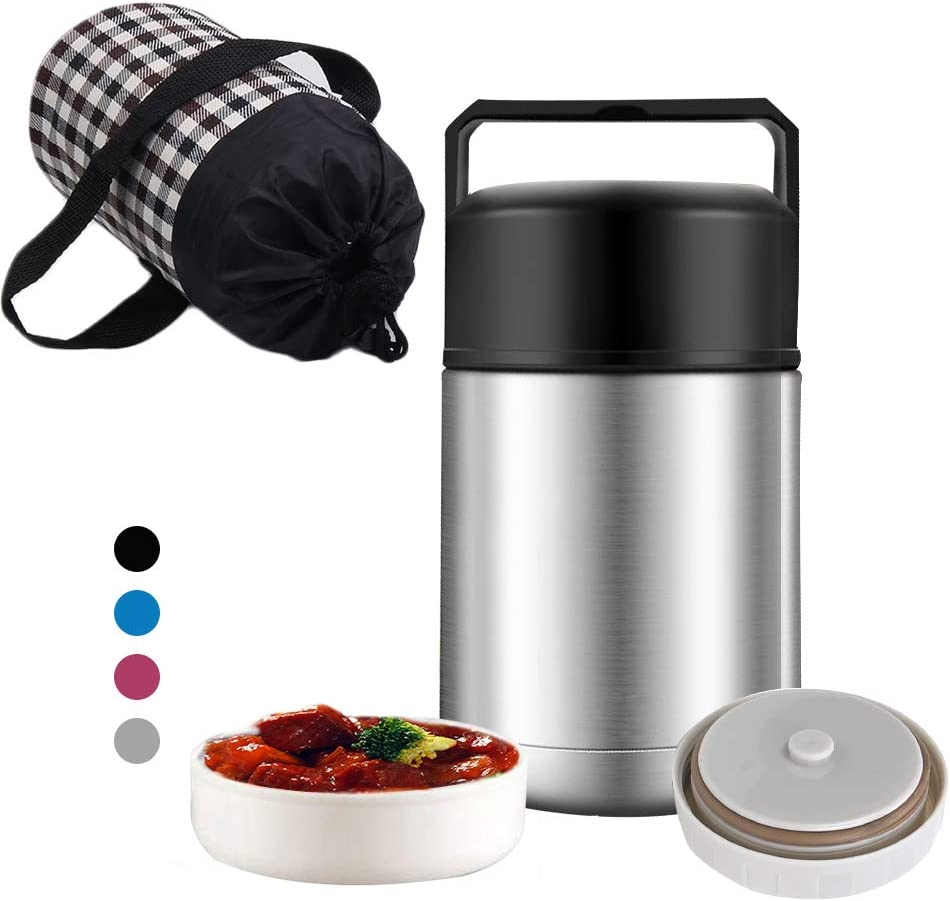 Vacuum Insulated Food Thermos,Micnaron Stainless Steel 33oz Food Jar,Free Thermos Thermal Soup Containers Handle Lid for Hot Food Wide Mouth,Durable Leak Proof Lunch Box with a Cloth Carry Bag