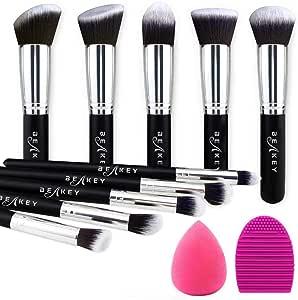 BEAKEY Set de Brochas de Maquillaje Profesional, Synthetic Kabuki Premium para Base Polvos Colorete Contorno, con Esponja y Limpiador de Cepillo (10+2 Piezas, Negro ...