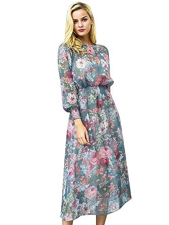 Missy Chilli Damen Lang Schwarz Kleid Elegant Langarm V-Ausschnitt Blumen  Boho Maxi Kleid Strandkleid Dress mit Knopfleiste  Amazon.de  Bekleidung d7b06aa5f8
