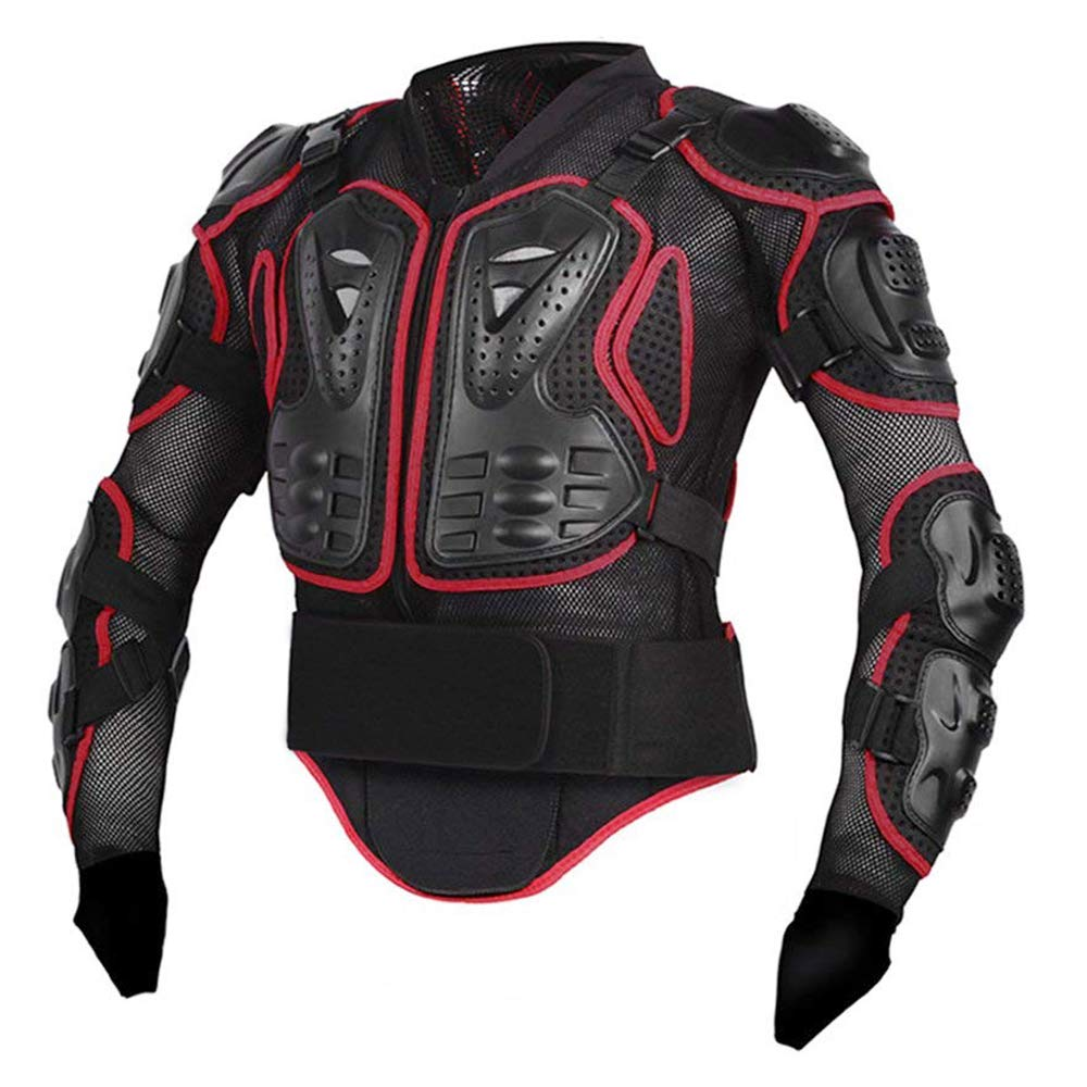 Motorcycle Full Body Armor Protective Gear Jacket Street Motocross ATV Guard MTB Racing Shirt Jacket Protector Pro for Men (Red, L)