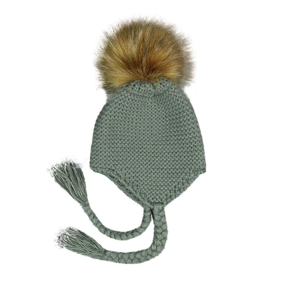 Kingko ® Baby Hats Winter Warm Toddler Newborn Hairball Cap Hat Boy Girl Beanie Ear CapHat Crochet Hat Cute (Yellow)