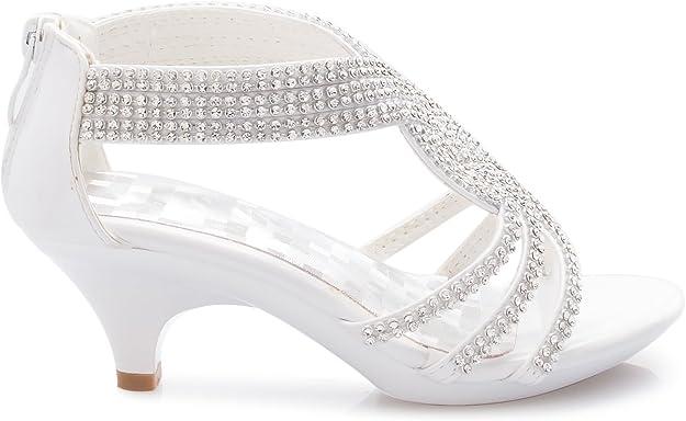 Olivia K Girls Kids Open Toe Strappy Rhinestone Dress Sandal Low Heel Shoes Wedding Dress Flower Girl Dance