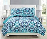 Mk Collection Twin/ Twin Extra Long 2pc Bedspread coverlet quilted Floral Turquoise Teel Blue Grey Over Size New #185 70''x95''