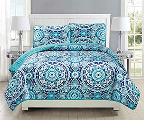 Mk Collection 3pc Bedspread coverlet quilted Floral Turquoise Teel Blue Grey Over Size New #185 Full/Queen Over Size