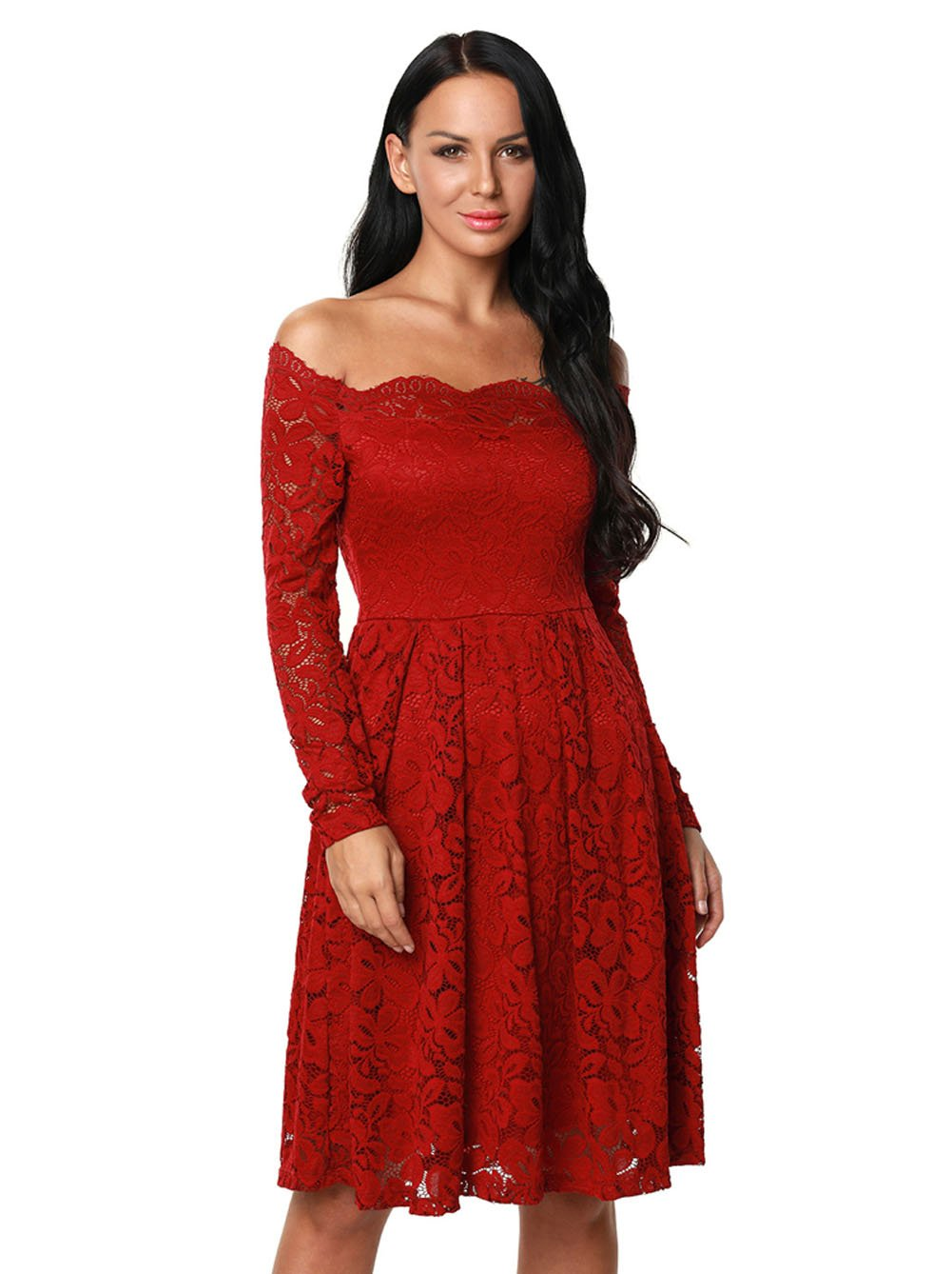 BYY Long Sleeve Floral Lace Boat Neck Cocktail Swing Dress(Red,S) by BYY