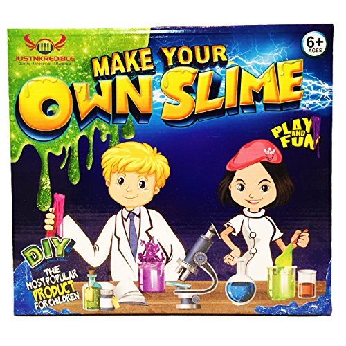 Slime Kit - DIY Science Lab for Kids - Includes: Glow in the Dark Powder, Colorful Balls, Glitter, Instructions & Measuring Cups - Boys & Girls - Starter Kit for making the Best Floam Slime!