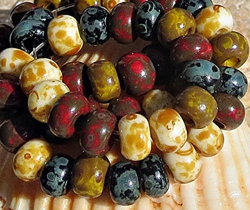 3 Seed Bead - 20 g Aged Picasso Travertine 3/0 Czech Glass Seed Beads Biege Red Black
