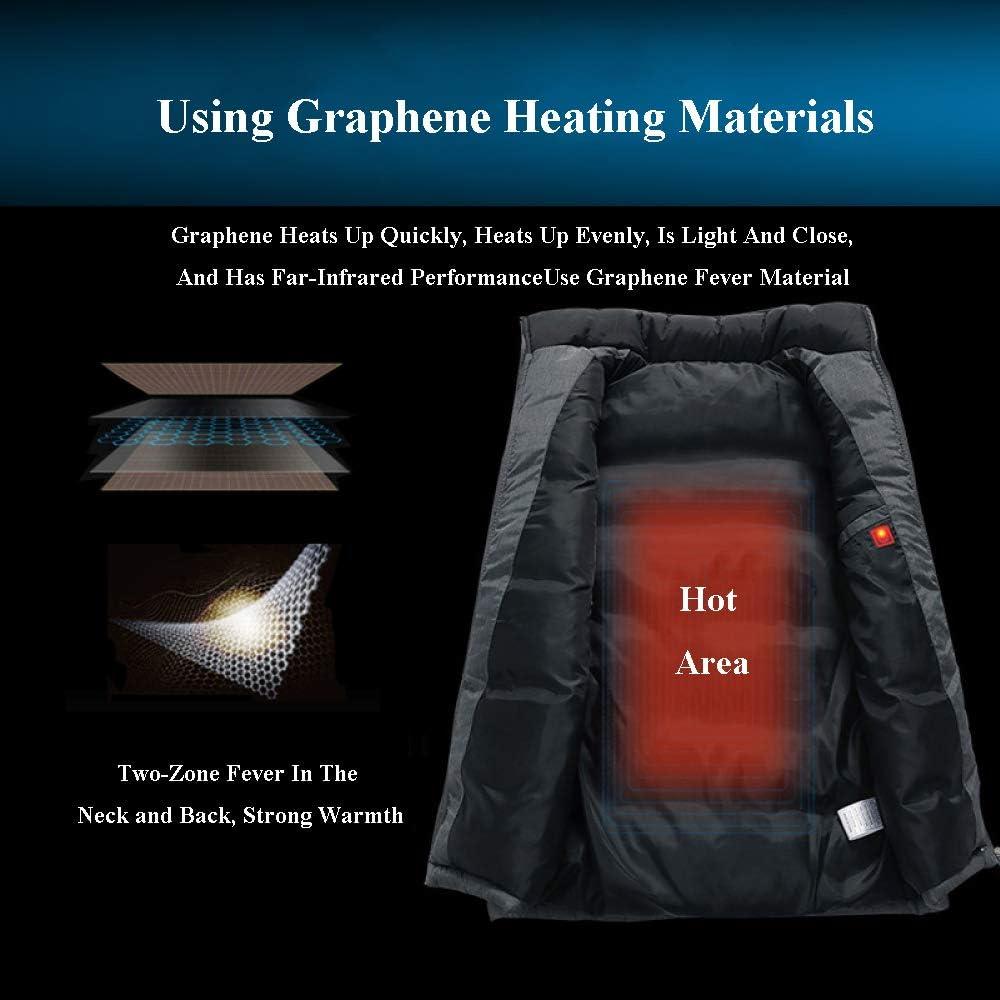Abbigliamento da Riscaldamento Elettrico da Uomo/Gilet Riscaldante, con Cavo USB - per Il Lavoro Invernale All\'aperto Viaggio Camping E Sci,Orange-L Orange-2XL