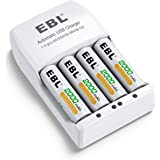 EBL Rechargeable AA Batteries 2000mAh (4 Pack) and Rechargeable Battery Charger for Ni-MH/Ni-CD AA AAA Rechargeable…