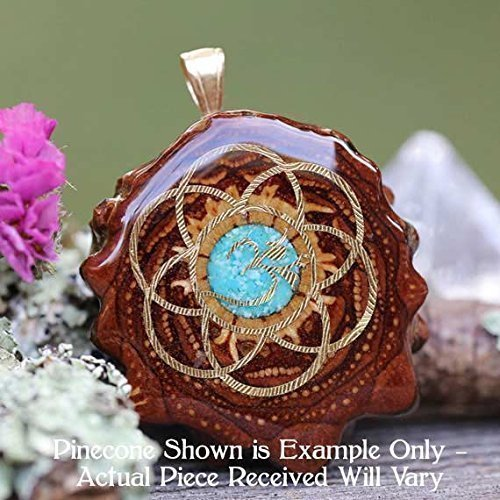 Glowing Crushed Turquoise with Gold Seed of Life + Om Third Eye Pinecone Pendant by Third Eye Pinecones