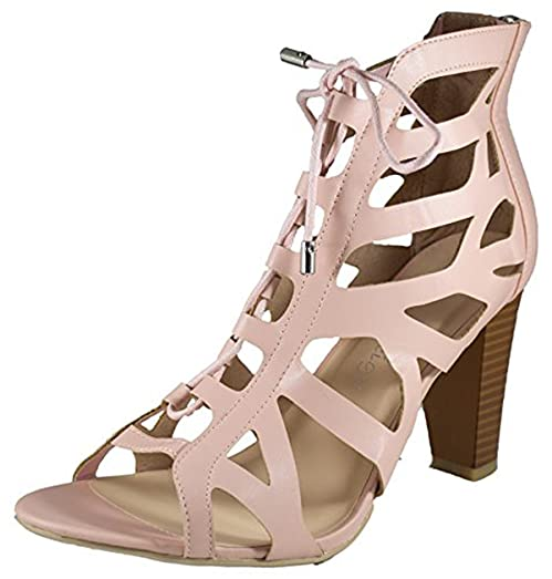 5e12266c99f7 Free Reign Women s Cut Out Lace Up Ghille Bootie Heel Sandal (Wide Width) (