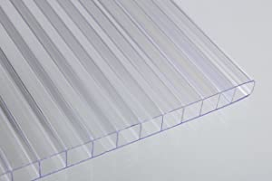 "Falken Design Falkenacrylic-MW-CL-6MM/1224 Mw-CL-6mm/1224 Multiwall Polycarbonate Sheet, Greenhouse Cover, 6mm (0.236"") 12"" x 24"" - Clear, Polycarbonate"