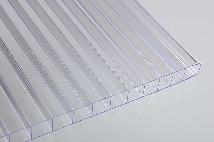 "Falken Design Falkenacrylic-MW-CL-6MM/1224 Mw-CL-6mm/1224 Multiwall Polycarbonate Sheet, Greenhouse Cover, 6mm (0.236"") 12"" x 24"" - Clear, Polycarbonate"