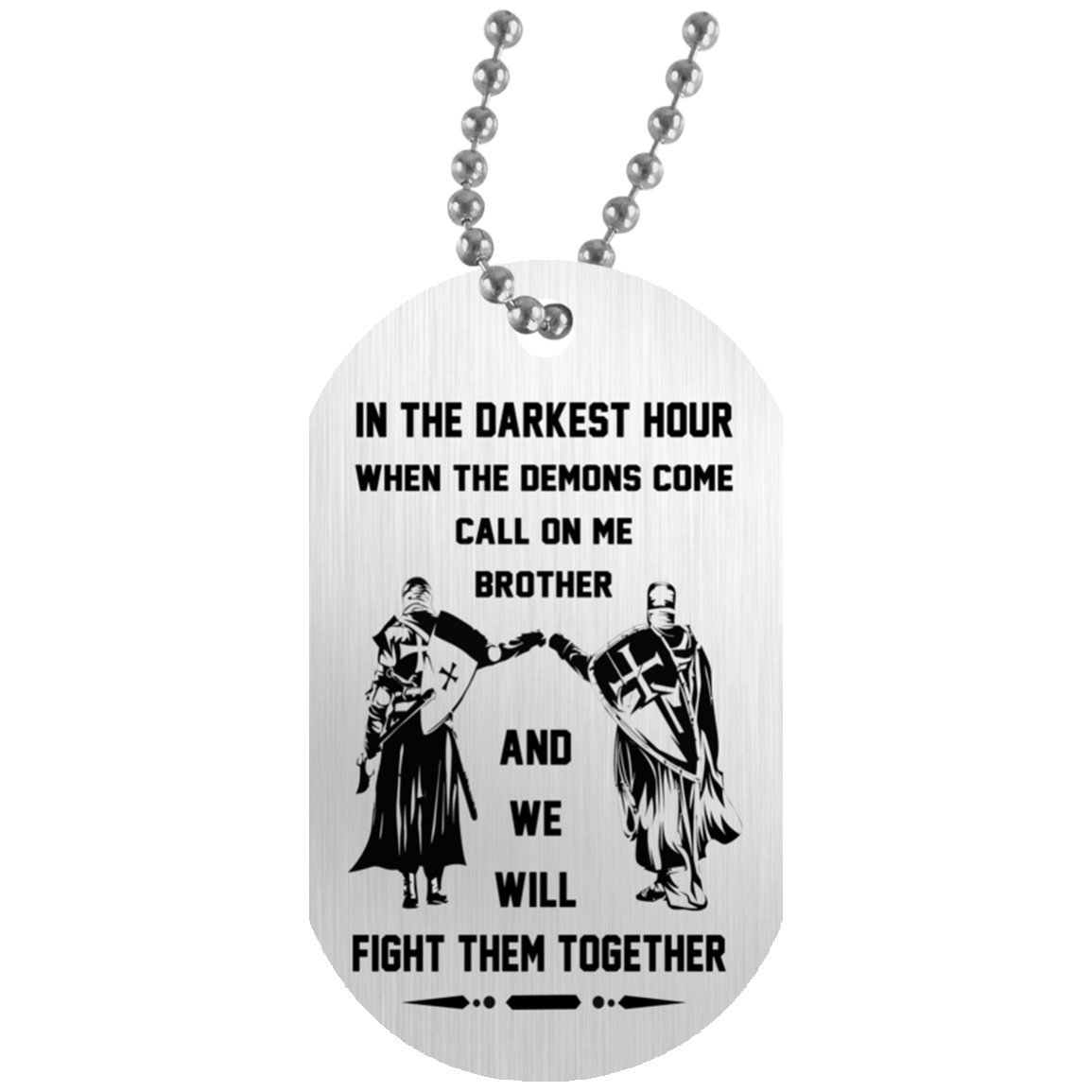 Personalized Brother Dog Tag Pendant Necklace - Viking Warriors, We Will Fight Them Together - Personalized Gifts for Men, Brother, Friends - Military Inspired Dog tag Shineon