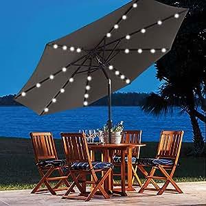 9 Ft Solar Powered Patio Umbrella 32 LED Lights With Push Button Tilt  Adjustment And Crank