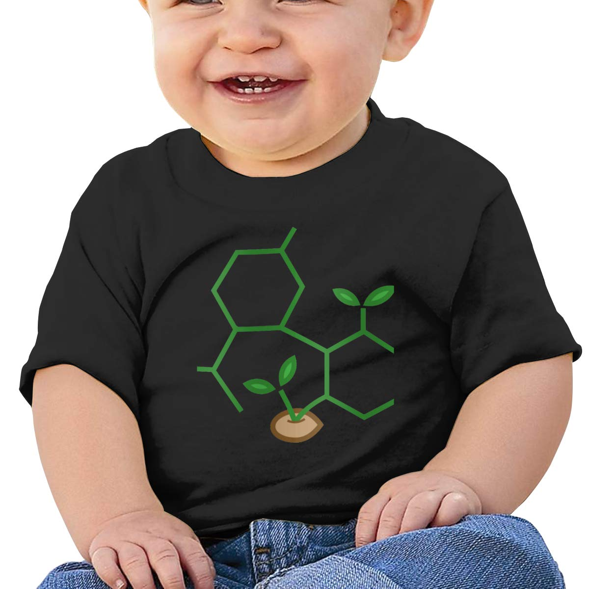 CBD Molecule Cannabis Baby T-Shirt Baby Boy Girl Cotton T Shirts Soft Graphic T-Shirt for 6M-2T Baby
