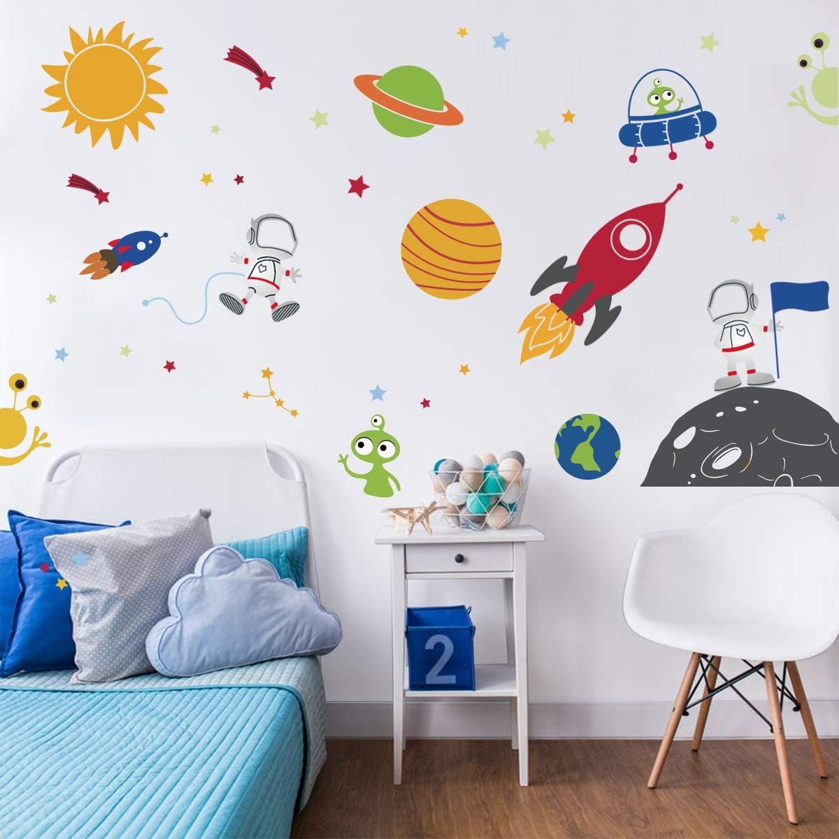 Baby Room Wall Decor 68 x 74 Outer Space Wall Stickers Astronaut Wall Decals Planets and Galaxy Nursery Decals Nursery Wall Decals