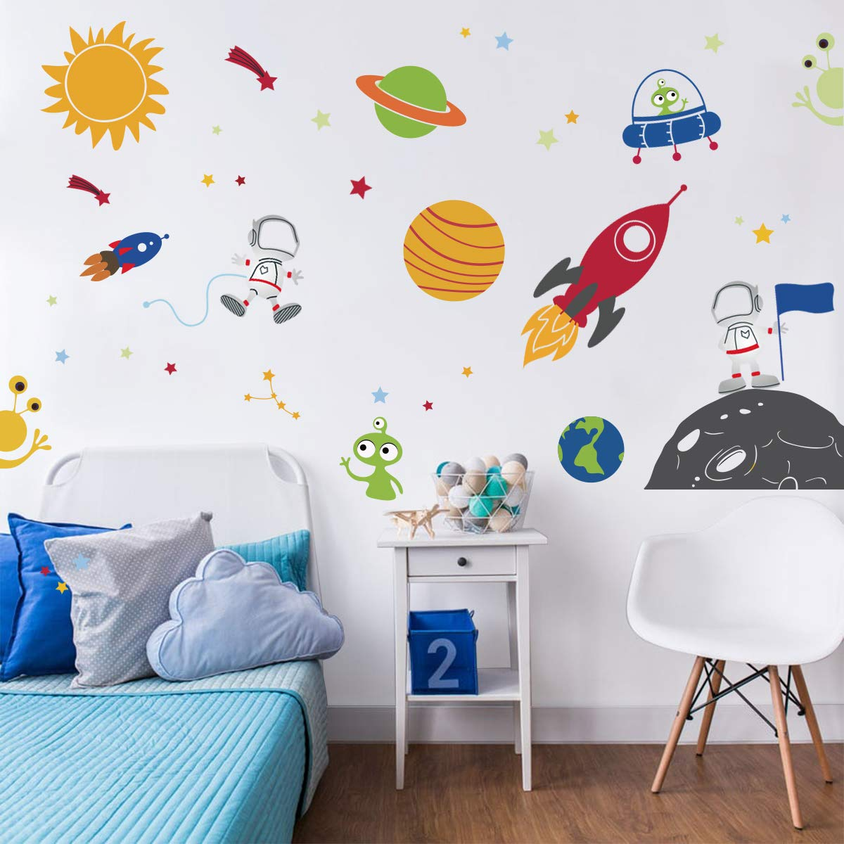 22 x 22 Imprinted Designs Spaceship Rocket with Planet Wall Decal Sticker Art in White Cute Boys Nursery Wall Decorations Childrens Room Decor Kids Room Wall Art