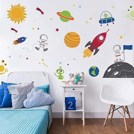 Vinilos Decorativos Planetas.Decalmile Espacio Exterior Estrellas Planetas Pegatinas De Pared Vinilos Decorativos Habitacion Infantiles Guarderia Ninos Bebes Dormitorios