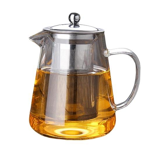 HUVE Tetera, 400 ml Tetera de vidrio transparente con infusor ...