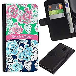 A-type (It Higher 420 Blue Pink Text Floral) Colorida Impresión Funda Cuero Monedero Caja Bolsa Cubierta Caja Piel Card Slots Para Samsung Galaxy Note 3 III