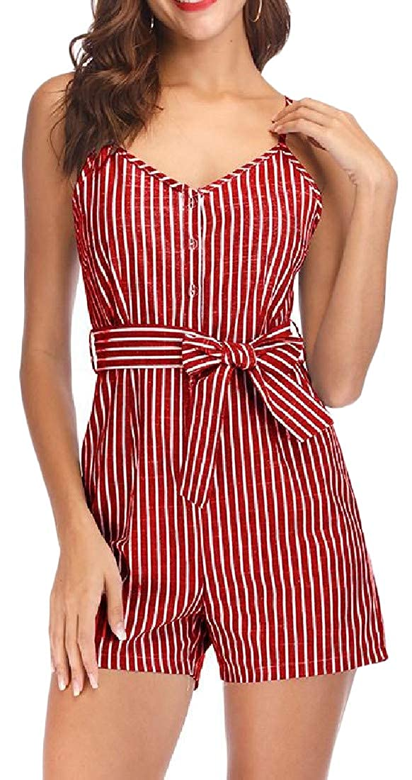 Sweatwater Womens Spaghetti Strap Button Sports Striped Belt Short Jumpsuits