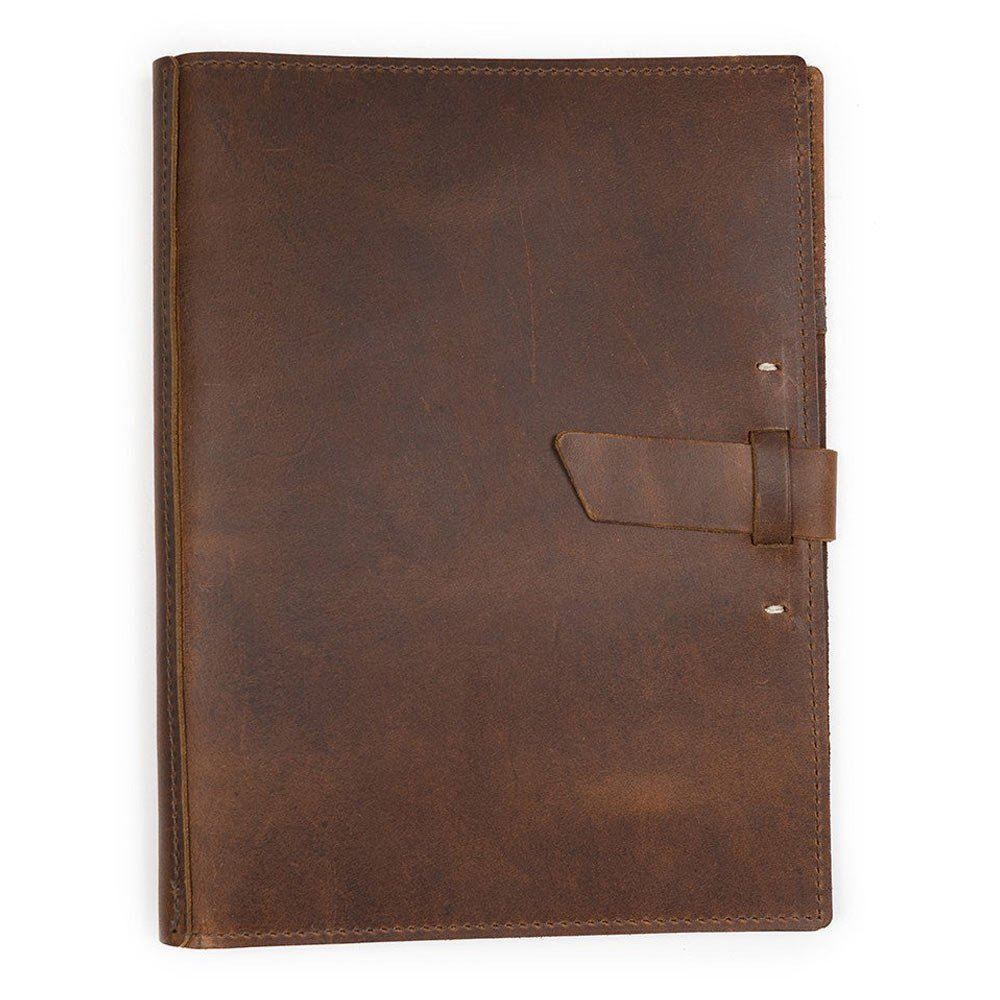 Leather Large Pad Portfolio by Rustico with Hand-Stitched Closure, 10 by 12.5 Inches, Saddle Brown, Made in The USA