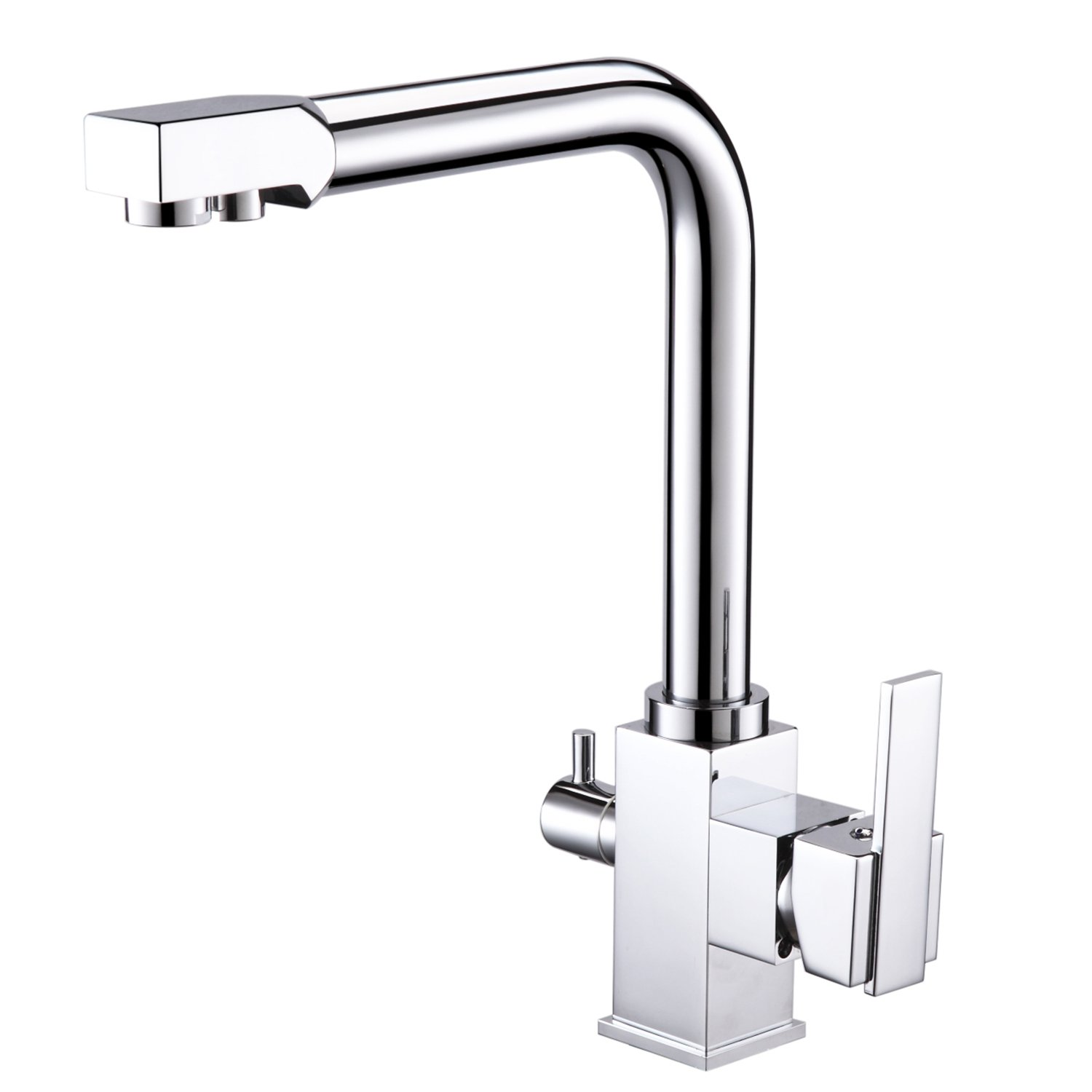 [Drinking Water Kitchen Tap] Hapilife Commercial Chrome Solid Brass Single  Hole Double Handles 3 Way Water Filter Square Swivel Spout Sink Mixer Tap:  ...