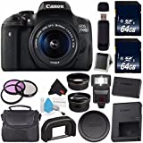 Canon EOS Rebel T6i/750D DSLR Camera with 18-55mm Lens (International Version) + 64GB Memory Card + Carrying Case Bundle