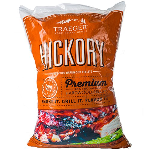 Traeger PEL319  Grills Hickory 100% All-Natural Hardwood Pellets - Grill, Smoke, Bake, Roast, Braise, and BBQ (20 lb. Bag) - Hickory Wood