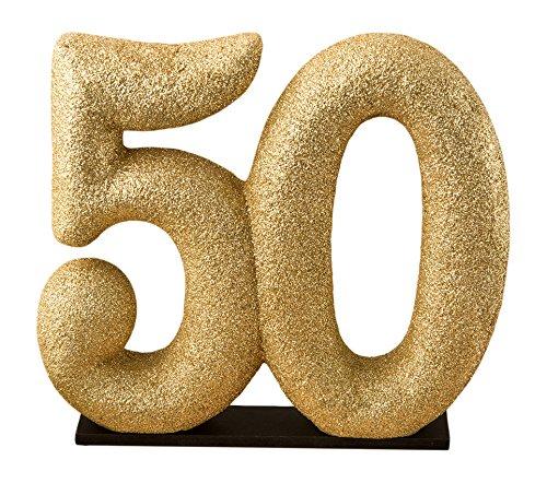 Fashioncraft Center Piece 50th Themed Gold Glitter Centerpiece/Cake