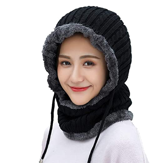 41067616349 Amazon.com  Winter Knit Beanie Scarf Neck Warmer Fleece Balaclava Ski Face  Mask for Women Men  Clothing