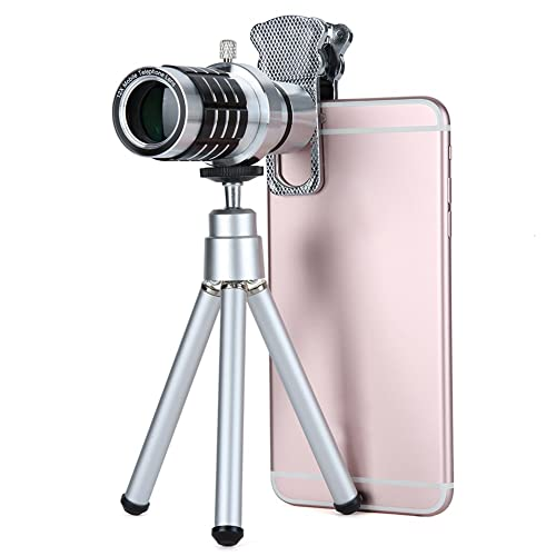 AizboPhone Camera Lens Kit,Universal 12XTelephoto Lenses Monocular Optical External Zoom Telescope Lens with Tripod, Cat Clip for iPhone, Samsung Galaxy and Smartphones