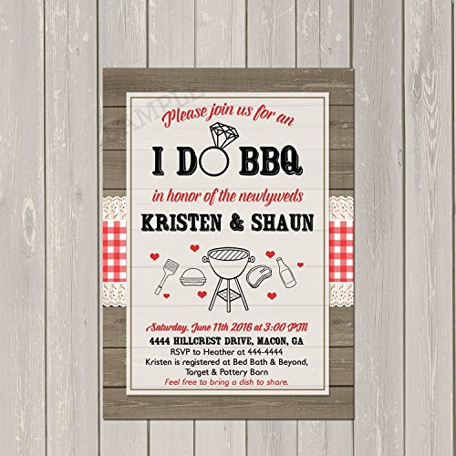 I Do BBQ Invitation, Couples Wedding Shower Barbecue Invitation, Engagement Party BBQ Invite, Rustic Wedding Shower Invitation (Bbq Party Invitation)