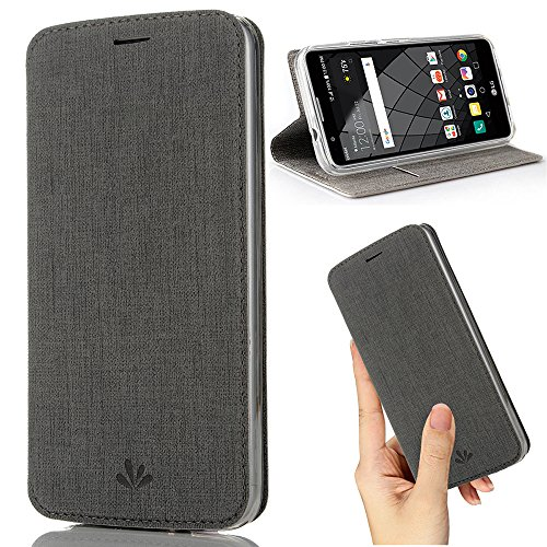 Motorola Moto G5s Plus Case,Premium Flip Leather Wallet Case Stand Kickstand Card Slot Magnetic Closure Full Body Protective Cover Clear TPU Bumper Thin Case for Moto G5s+ (Gray) - Kickstand Wrap Case