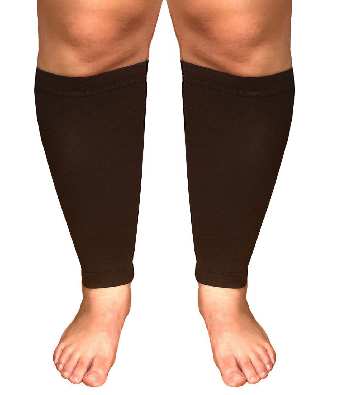 Runee Extra Wide Calf Compression Sleeve - Leg Support for Wide Calves, Compression Sleeve for Calf Pain & Shin Splint, Relief Swelling, Varicose Veins, DVT (Black) by Runee