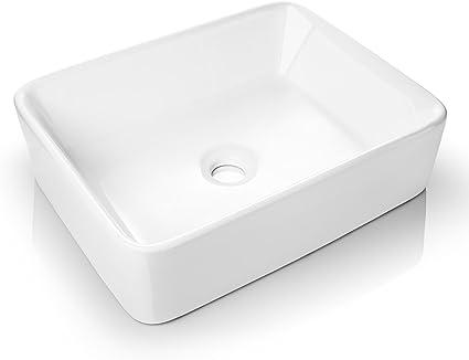 Miligore 19 X 15 Rectangular White Ceramic Vessel Sink Modern Above Counter Bathroom Vanity Bowl Home Kitchen
